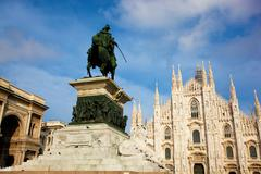Stock Photo of milan cathedral, vittorio emanuele ii statue and gallery. italy
