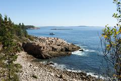 Views of the rocky coast and the sea from ocean trail, acadia national park,  Stock Photos