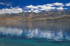 Stock Photo of high altitude lake of tso moriri or tsomoriri or lake moriri, changtang or ch