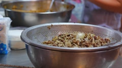 Macro meat filling for steamed buns Stock Footage