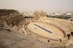 amphitheatre of el jem, tunisia, africa - stock photo