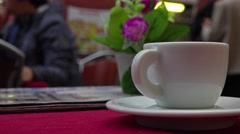 Italy, Rome, cup on table of street cafe near of fountain Trevi. Stock Footage