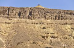 View of a lookout point, hiking trail through the machtesch ramon erosion cra Stock Photos