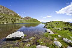 Stock Photo of lake below the summit of mt hochwart, during ascent to mt ultner hochwart in