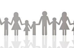 Pictogram, figures, family with many children, large family Stock Photos
