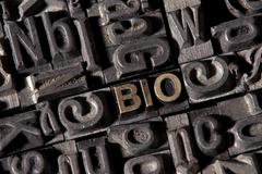 "Stock Photo of the word ""bio"", german for ""organic"", made of old lead type"