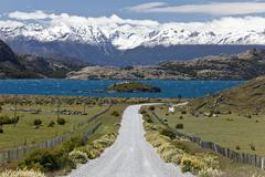 the deep blue lake lago general carrera on the carretera austral, the snow-ca - stock photo