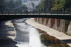Stock Photo of concrete bed of the river wien in the stadtpark, municipal park, vienna, aust