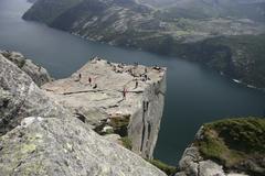 preikestolen pulpit rock above the lysefjord, norway, scandinavia, europe - stock photo