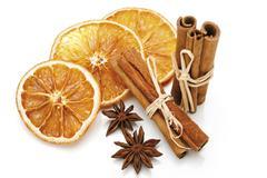 dried slices of orange, cinnamon sticks and anise stars - stock photo