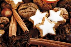 cinnamon stars with christmas decoration - stock photo