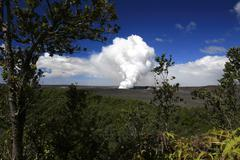 tropical vegetation changes with the volcanic scenery in the volcanoes nation - stock photo