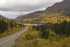 South klondike highway in indian summer, white pass, tagish lake behind, brit Stock Photos