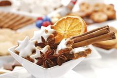 cinnamon stars, star anis and cinnamon sticks - stock photo