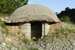 typical albanian bunker from the communist era, albania, europe - stock photo