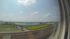 View from high speed train from taipei to kaoshiung Stock Footage