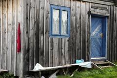 wooden house, bihor mountains, parcul natural apuseni, romania, europe - stock photo