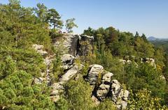 Rugged rocks near rathen, nationalpark saxon switzerland, saxony, germany, eu Stock Photos
