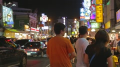 Pingtung Night Market - cinematic - friends at night market Stock Footage