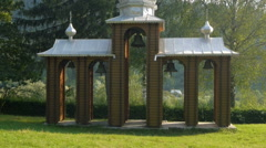 Ukrainian bell tower near the church Stock Footage