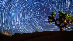 Vortex Star Trails Timelapse Over Joshua Tree Night Sunrise - stock footage