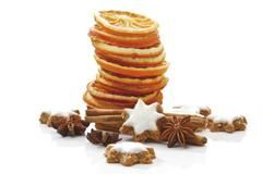 dried orange slices, cinnamon stars, cinnamon sticks and star anis - stock photo