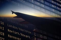 Departure board, airplane Stock Photos