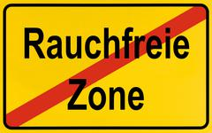 end of town sign, symbolic image for the end of no smoking zones, rauchfreie  - stock photo