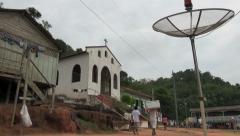 Brazil Boca da Valeria church and tv dish Stock Footage