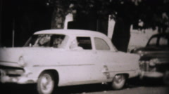 Familes In Front Of Classic Old Cars-1957 Vintage 8mm film Stock Footage