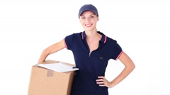 Pretty blonde delivery woman smiling at camera - stock footage