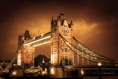 Tower Bridge at night twilight London, England, UK Stock Photos