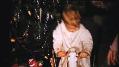 Boy Gets New Rocking Horse For Christmas-1961 Vintage 8mm film Stock Footage