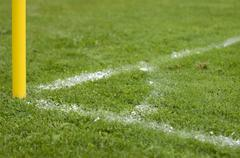 corner flag on a football pitch in the local league, bavaria, germany, europe - stock photo