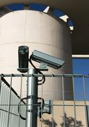 surveillance cameras on the backside of the federal chancellery in berlin mit - stock photo