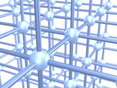 Three dimensional grid construction out of blue metallic spheres and rods, 3d Stock Illustration