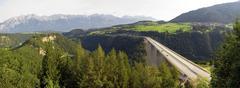 Stock Photo of panoramic view of the europabruecke bridge on the brenner motorway, tyrol, au