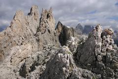 view from neve saddle, cadini di misurina, dolomite alps, italy, europe - stock photo