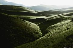 high valley in the early morning in abruzzo, italy, europe - stock photo