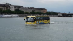Stock Video Footage of HD1080 Amphibious bus in Budapest Sightseeing River Ride