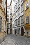 domgasse with mozarthaus, mozart\'s house, second house on the right, vienna, - stock photo