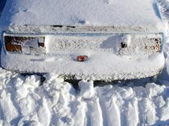 Snow-clad car in cervenohorske gap, hrubý jeseník mountain range, protected Stock Photos