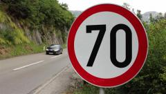 Two cars passing on the highway.Traffic on the main road. Speed limit. Insurance Stock Footage