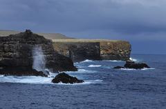 cliff coast of espanola island in the galapagos, ecuador, south america - stock photo