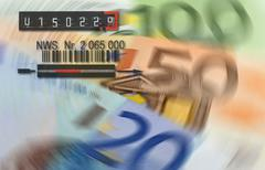 euro banknotes, electricity meter, symbolic of energy costs - stock photo