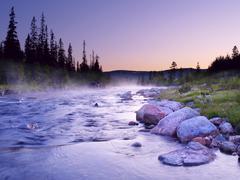 Luru river, ground mist, nord-trøndelag, norway, scandinavia, northern europ Kuvituskuvat