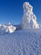 Stock Photo of winter on radhost peak, abundance of new snow, beskids protected landscape ar