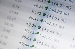 Rising share rates Stock Photos