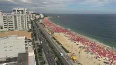 Rio de Janeiro Ipanema Beach crowd on Saturday s Stock Footage