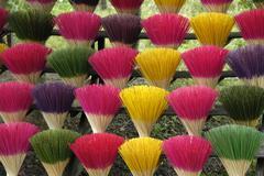 colorful bundles of incense sticks, hue, vietnam, southeast asia - stock photo